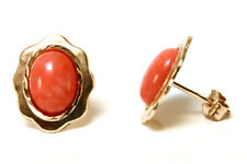 9ct Gold Coral Oval Studs earrings Gift Boxed Made in UK