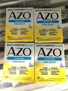 Pack of 4 AZO Yeast Plus Dual Relief Multi-Symptom Formula 60 Tablets 2/22 #6675
