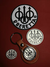 BERETTA LEATHER KEY RING, SILVER PLATED BADGE & PATCH SET  & FREE PHONE STICKER