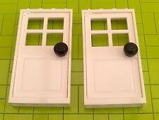 NEW LEGO BRICKS - 2 x LARGE WHITE DOOR FRAMES & DOORS 1x4x6 - CITY HOUSE POLICE