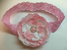 Cute!!! Pink Baby Girl Lace Headband Flower Hair Bow W/pearl rhinestone.