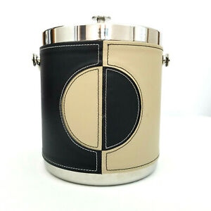 Marquis by Waterford Leather Wrapped Stainless Steel Ice Bucket Vintage Look