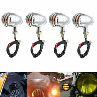 4X Chrome Grill Bullet Motorcycle Turn Signal Indicator Light For Harley Chopper