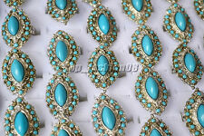 5pcs Wholesale Jewelry Lots Turquoise Gemstone Silver P Rings Free Ship