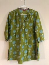 W for woman 14 Mandarin Neck 3/4 Sleeve Green Floral Tunic Top