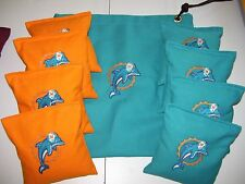 Miami Dolphins Embroidered Cornhole Corn Hole Set of 8 Bags W Storage Bag
