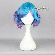 Lolita Blue Mixed Pink Short 30CM Curly Harajuku Women Cosplay Wig + Wig Cap
