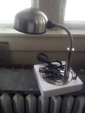 Gooseneck Desk Lamp ~ Stainless Steel ~ Phone Jack ~ Extra Electrical Outlet