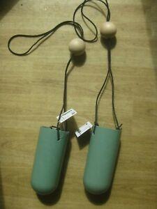"2 x Hanging Vases - Green, adjustable length to 32"" - Designed in Denmark"