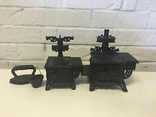 Vintage Pair Cast Iron Queen Toy Salesman Sample Stoves Ovens w/ Iron & Bucket