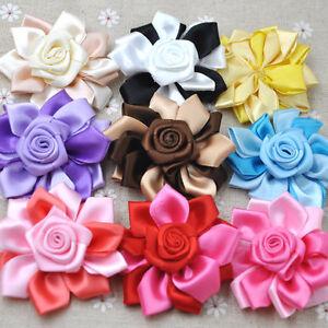 10 pcs Ribbon Flowers With Rose,Fabric Flower, Embellishment Headband A280