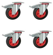 "200mm (8"") heavy duty industrial castors, 8 "" solid rubber wheels. RT22X"