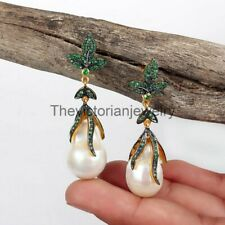 Fine Emerald & Pearl Gemstone Pave Diamond Beautiful Earring 925 Sterling Silver