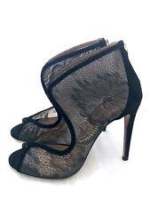 Aquazzura Peep Toe Stiefeletten Schwarz Leder Spitze 36-37 High-Heels Lace Boots