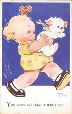 """Postcard Mabel Lucie Attwell puppy """" You Can't do That Here"""" posted 1928"""