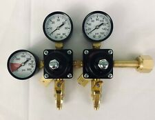 Custom Dual Pressure High Low Co2 Regulator Assembly with 2 nuts and stems