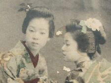 Vintage 1911 Japan Geisha Girls Postcard Double Cancelled Yokohama Tsuruga NICE