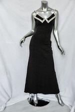 GALANOS *VINTAGE* Open Back Knit CRYSTAL COLLAR Evening Maxi Long Dress Gown S/M
