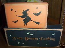 Prim.Shelf Sitter FREE BROOM PARKING wood sign