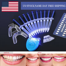Teeth Whitening Kit 10 Gels 2 Trays 1 White LED Light Professional 44% Bleach US