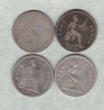 More details for four 1838/1840/1841 & 1849 victoria silver fourpences in a used condition