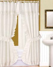 DOUBLE SWAG SHOWER CURTAIN, LINER & RINGS , White by Better Home