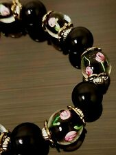 Vintage Glass Lampwork Black & Pink Flower Beads and Black Bead Stretch Bracelet