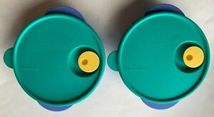 Tupperware Divided Food Container 3859A-2 Blue W/ Green lid  Lot of 2