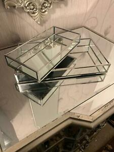 Set of two Rectangular Mirror Tray Plate Candle Plate Tray Home decor gift