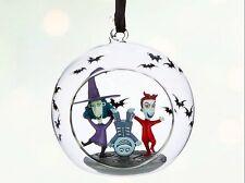 NIGHTMARE BEFORE CHRISTMAS LOCK, SHOCK & BARREL GLASS GLOBE ORNAMENT