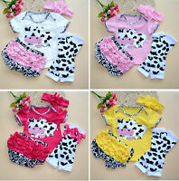 Baby Girl Outfit Kids Clothing Newborn Cow Headband+Top+Shorts+Leg Warmers Sets