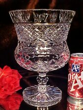 Vintage Ring Footed LARGE Crystal Cut Glass CHALICE Vase GORGEOUS Pattern!
