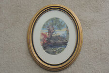 Wood Framed Needlepoint OVAL GOLD FRAME FROM DEBRECEN HUNGARY WATER LILLY ,BOAT