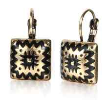 Antique Silver Gold Plated  Black Enameling Charms Square Earring
