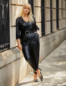 NEW ELOQUI vegan leather belted dress jumpsuit 16w