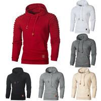 Men's Autumn Long Sleeve Plaid Hoodie Hooded Sweatshirt Top Tee Outwear Blouses