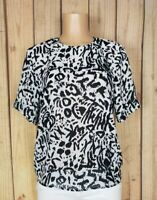 EVA LAUREL Womens Size Medium Short Sleeve Abstract Print Black/Off White Top
