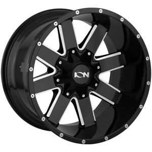 "Ion 141 20x12 8x6.5""/8x170 -44mm Black/Milled Wheel Rim 20"" Inch"
