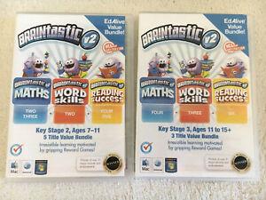 Maths Learning Pc Game Cd Rom X2 KS2/3 Reading Skills Braintastic 7-15Yrs Summer