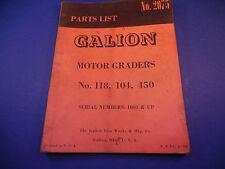 1959 Galion Motor Grader Parts List No.2075 118, 104, 450 Serial # 1001 & Up