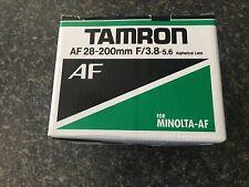 Tamron AF 28-200mm f3.8-5.6, Minolta AF mount, includes filter and A9FB close-up
