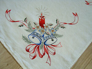 Vintage German Christmas Tablecloth Table runner with Xmas decoration