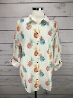Chico's 3 White Roll Up Slv Gold Button Down Pineapple No Iron Shirt Size XL