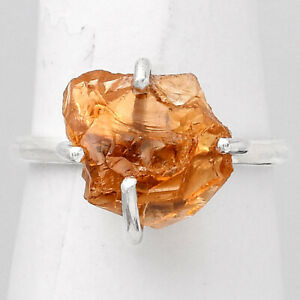 Natural Citrine Rough - Brazil 925 Sterling Silver Ring s.8 Jewelry E798