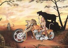 Lady Biker Custom Chopper Signed Motorcycle Art Print - Painting by Guillemette