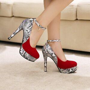 Womens Sexy Colorblock High Heels Round Toe Snake Stilettos Platform Ankle Strap