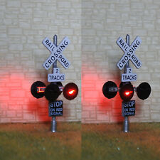 2 x HO scale railroad crossing signals 2 tracks + 1 circuit board flasher #SL4