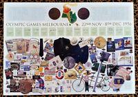 MELBOURNE 1956 OLYMPICS POSTER 13 LEGEND SIGNATURES COA RARE