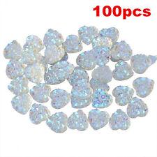 100Pcs Charms Silver Heart Shape Faced Flat Back Resin Glitter Beads DIY 10mm