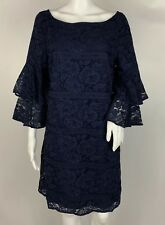 Eliza J Navy Blue Tiered Ruffle 3/4 Sleeve Lace Shift Dress Size 14